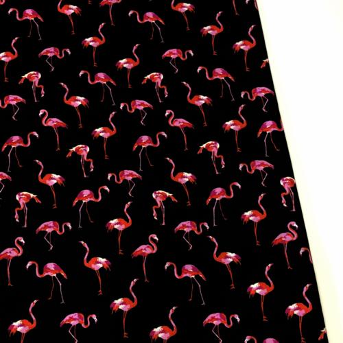 Fancy Flamingos Black Viscose