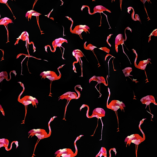 Fancy Flamingos Black Viscose