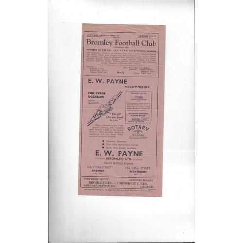 1951/52 Bromley v Barking Football Programme