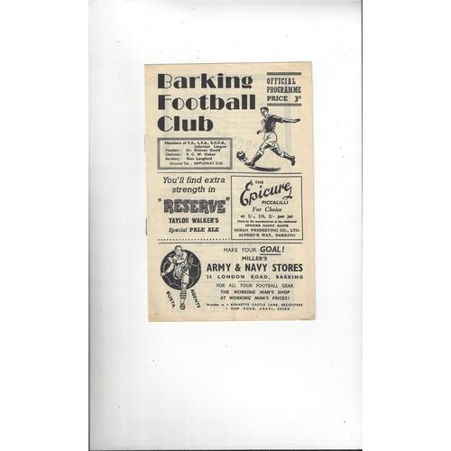 1955/56 Barking v East Ham United London Senior Cup Football Programme