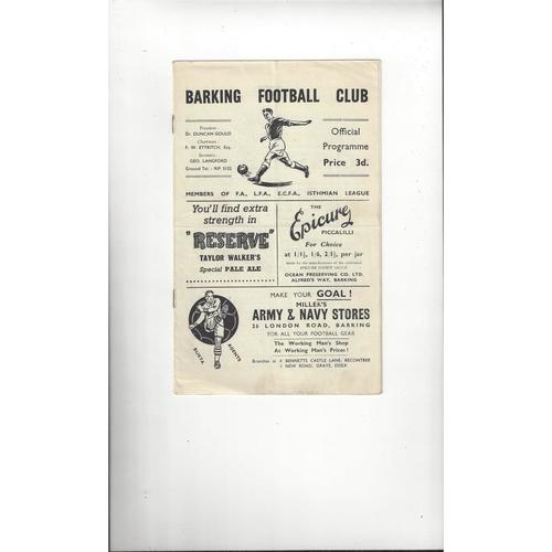 1956/57 Barking v Basildon Town Essex Senior Cup Football Programme