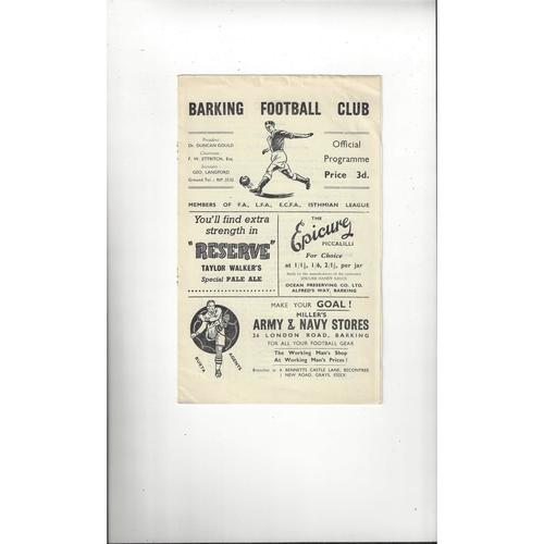 1956/57 Barking v Leyton London Senior Cup Football Programme