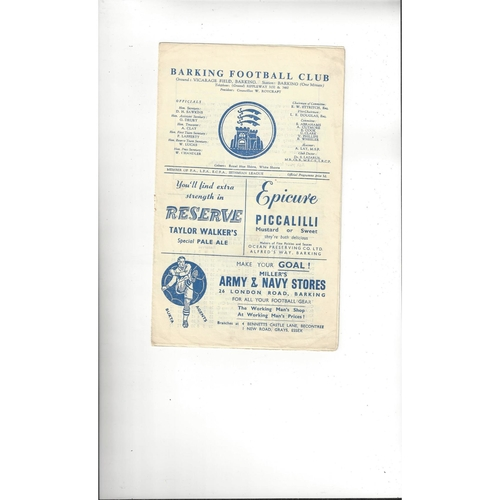1958/59 Barking v Leytonstone Football Programme