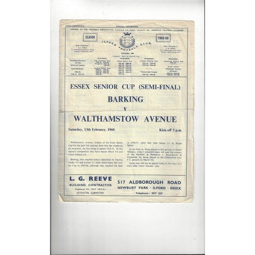 1959/60 Barking v Walthamstow Avenue Essex Senior Cup Semi Final Programme @ Ilford