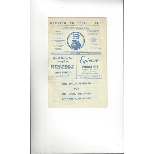 1959/60 Barking v Ilford Thameside Trophy Final Football Programme