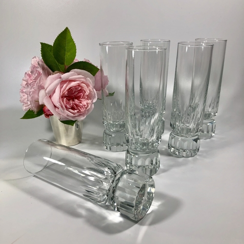 Set of six heavy based tall crystal tumblers