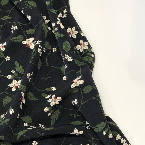 Midnight Bloom Poly Crepe