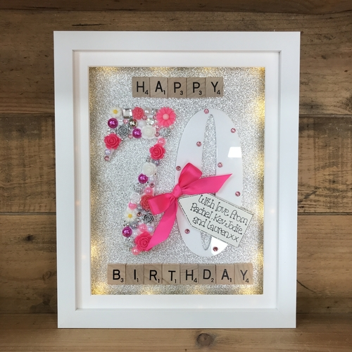 LED Happy 70 th birthday frame