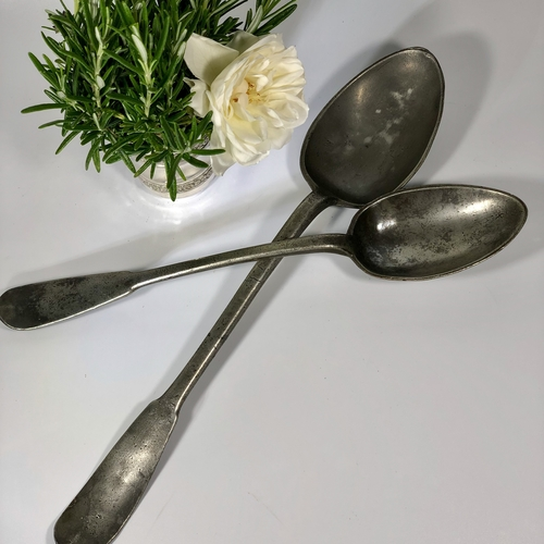 Pair of giant antique pewter serving spoons