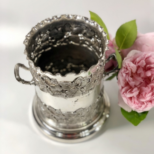 Victorian silver plated syphon wine coaster by Walker & Hall