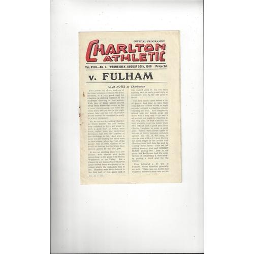 1950/51 Charlton Athletic v Fulham Football Programme