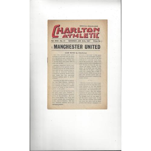 1950/51 Charlton Athletic v Manchester United Football Programme