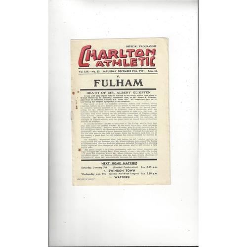 1951/52 Charlton Athletic v Fulham Football Programme