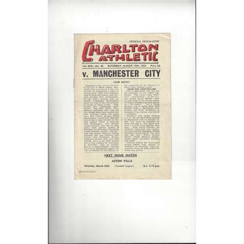 1951/52 Charlton Athletic v Manchester City Football Programme