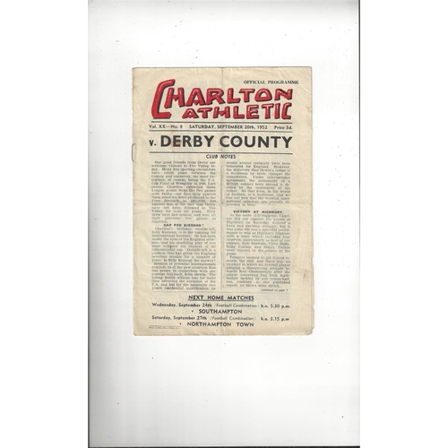 1952/53 Charlton Athletic v Derby County Football Programme