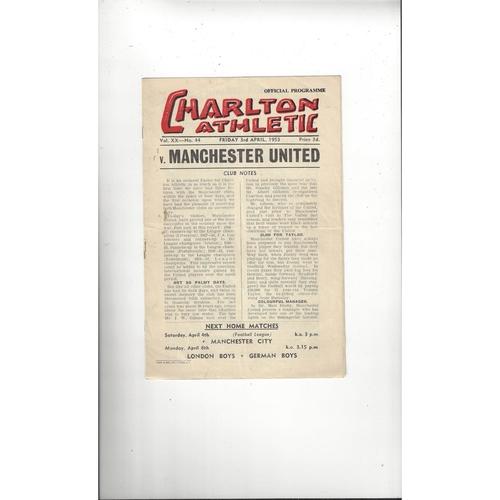 1952/53 Charlton Athletic v Manchester United Football Programme