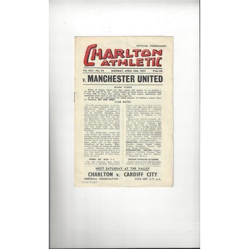 1953/54 Charlton Athletic v Manchester United Football Programme