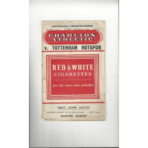 1955/56 Charlton Athletic v Tottenham Hotspur Football Programme