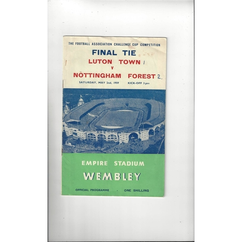 1959 Luton Town v Nottingham Forest FA Cup Final Football Programme