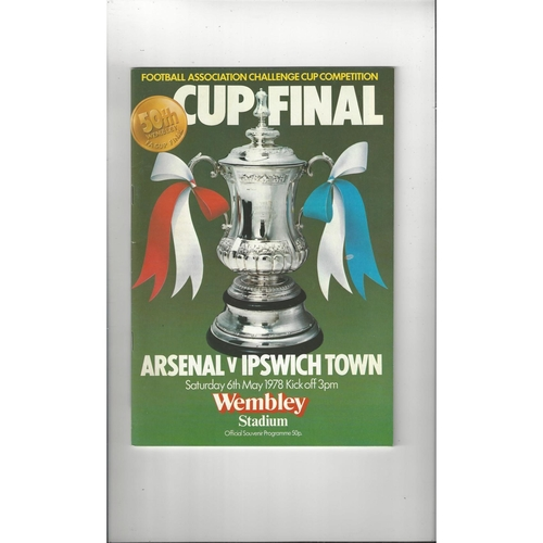 1978 Arsenal v Ipswich Town FA Cup Final Football Programme