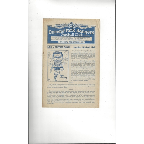 1947/48 Queens Park Rangers v Newport County Football Programme