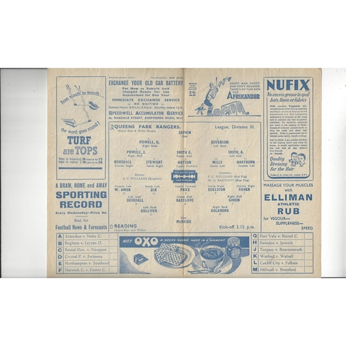 1947/48 Queens Park Rangers v Reading Football Programme