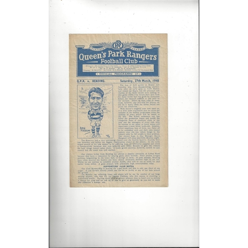 1947/48 Queens Park Rangers v Reading Football Programme