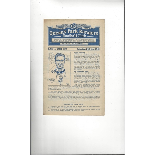 1947/48 Queens Park Rangers v Stoke City FA Cup Football Programme