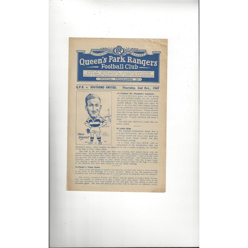 1947/48 Queens Park Rangers v Southend United Football Programme