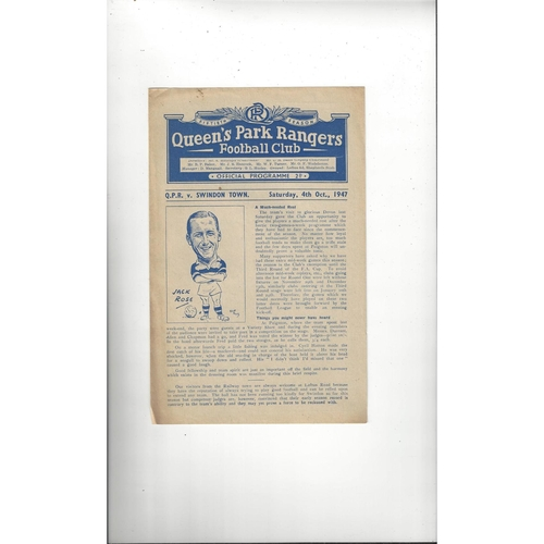 1947/48 Queens Park Rangers v Swindon Town Football Programme