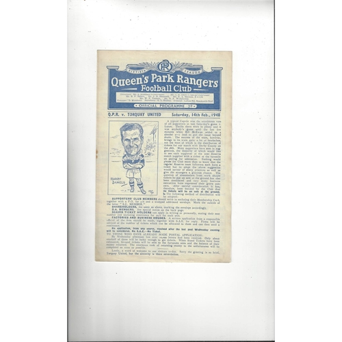 1947/48 Queens Park Rangers v Torquay United Football Programme