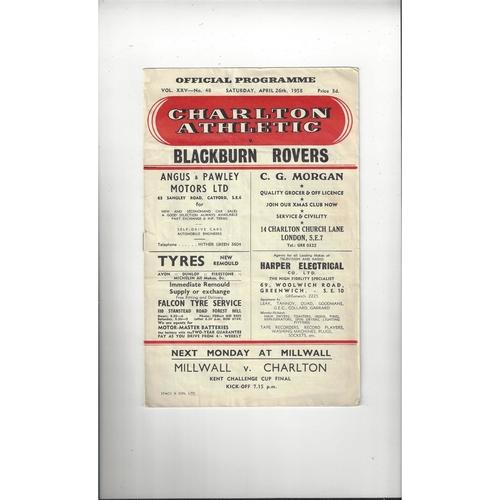 1957/58 Charlton Athletic v Blackburn Rovers Football Programme