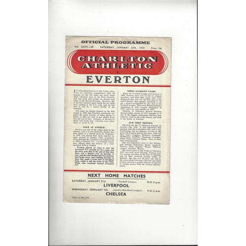 1958/59 Charlton Athletic v Everton FA Cup Football Programme