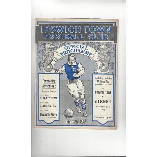 Ipswich Town v Street FA Cup Original Football Programme 1938/39