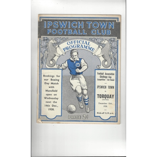 1938/39 Ipswich Town v Torquay United FA Cup Original Football Programme