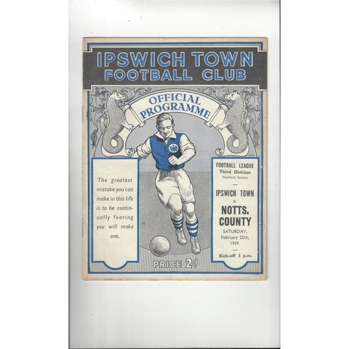 1938/39 Ipswich Town v Notts County Football Programme