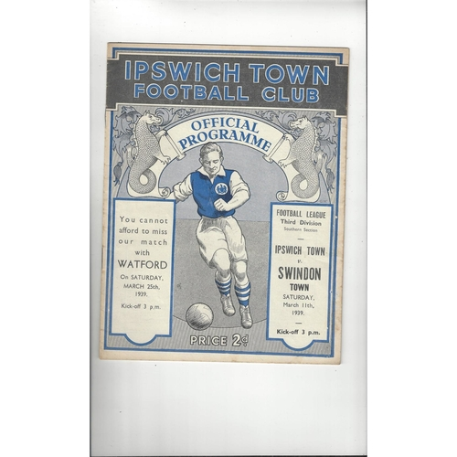 1938/39 Ipswich Town v Swindon Town Football Programme