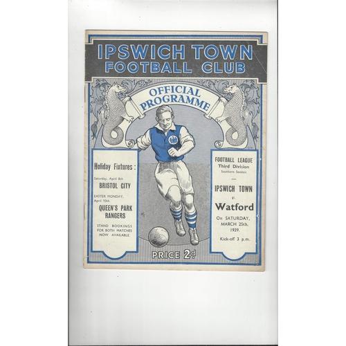 1938/39 Ipswich Town v Watford Football Programme