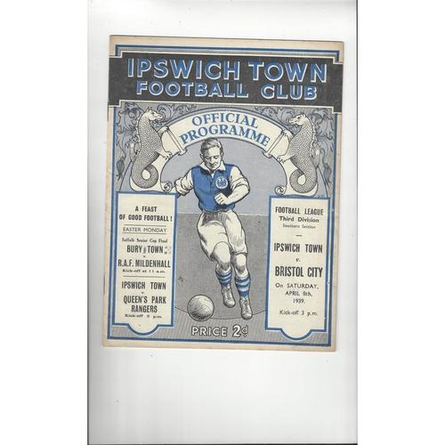 1938/39 Ipswich Town v Bristol City Original Football Programme