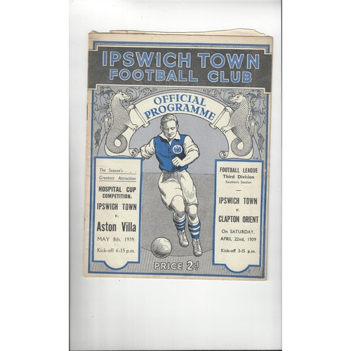 1938/39 Ipswich Town v Clapton Orient Football Programme