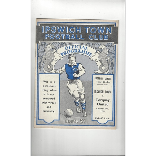 1938/39 Ipswich Town v Torquay United Original Football Programme