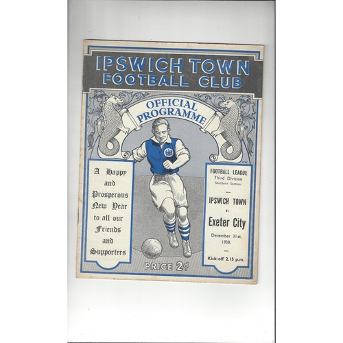 1938/39 Ipswich Town v Exeter City Football Programme