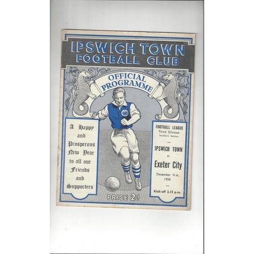 1938/39 Ipswich Town v Exeter City Original Football Programme