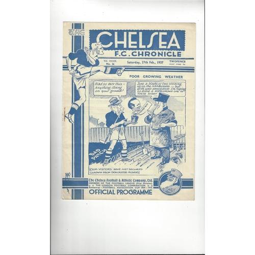 1936/37 Chelsea v Manchester United Football Programme