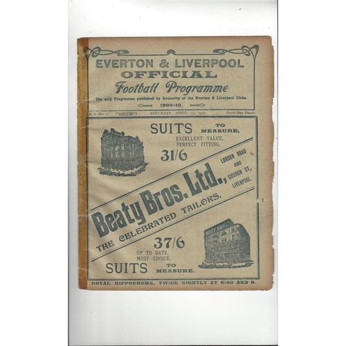 1909/10 Everton v Manchester United Football Programme
