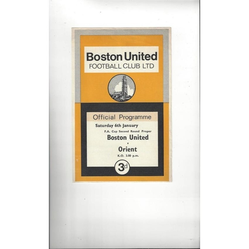 Boston United v Leyton Orient FA Cup Football Programme 1967/68