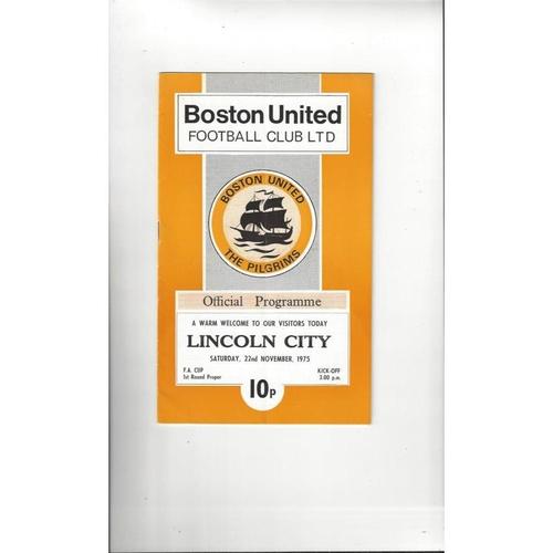 Boston United v Lincoln City FA Cup Football Programme 1975/76