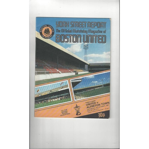 Boston United v Alfreton Town FA Cup Football Programme 1981/82