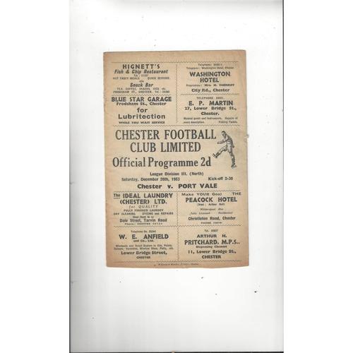1953/54 Chester v Port Vale Football Programme