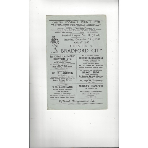 1956/57 Chester v Bradford City Football Programme